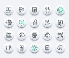 communication, technology and IT, vector line icons