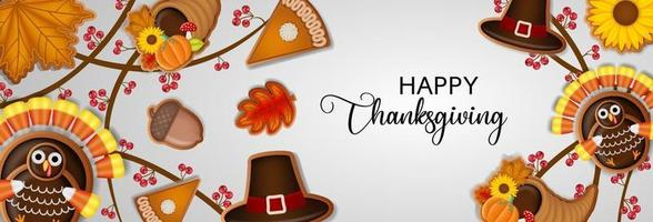 happy thanksgiving banner with gingerbread cookies vector