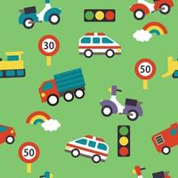 Seamless cartoon pattern with cars, street signs and rainbow vector