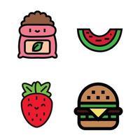 a strawberry fruit icon, a burger icon, and a watermelon icon. vector