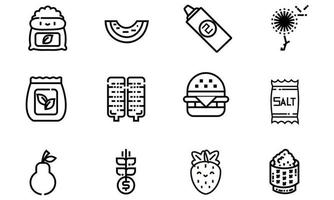 Collection icon of Hamburger, Grow, Pear, Strawberry, Salt vector