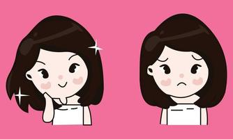 Vector cute cute girl who is cheerful and moody