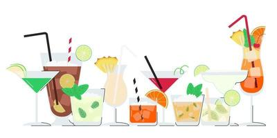 Summer alcohol cocktail set with copy space vector