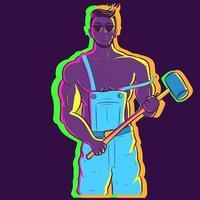 Ilustración de neón de un tipo musculoso sosteniendo un mazo vector