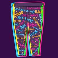 Neon illustration of a pair of tight yoga pants with offensive words vector