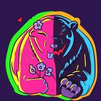 Neon illustration of a bipolar polar bear with a happy side vector