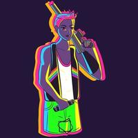 Neon illustration of a woman with short hair wearing the LGBT flag vector