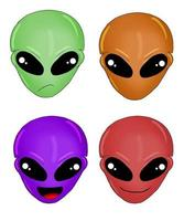 Hand drawn different faces of aliens isolated in a white background vector