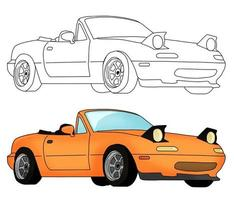 Hand drawn yellow car with sketch vector illustration.
