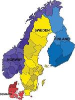 Outline Scandinevia map on white background. Vector illustration.