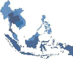 Square shape South east Asia and nearby countries map. vector
