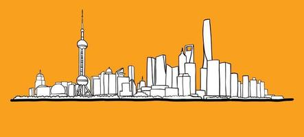 Shanghai skyline freehand drawing sketch on white background. vector