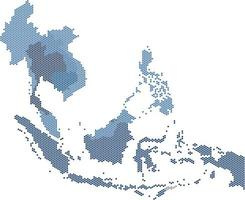 Circle dot South east Asia and nearby countries map. vector