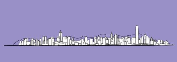 Hong Kong skyline freehand drawing sketch on white background. vector