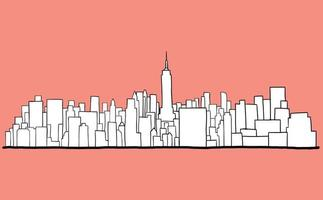 New York City skyline freehand drawing sketch on white background. vector