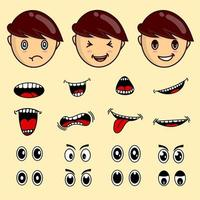 Kid face mouth and eyes set isolated vector. child expression set eye vector