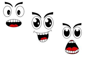 Face emoticon with cartoon style in eps vector eyes and mouth