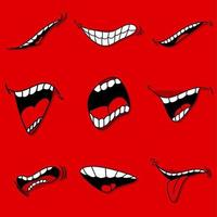 boca con lengua, caricatura, vector, conjunto, aislado, emoticon, para, diversión vector