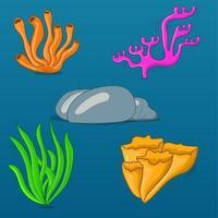 Ilustración de conjunto de coral. colección de algas marinas de coral. arrecife de coral vector