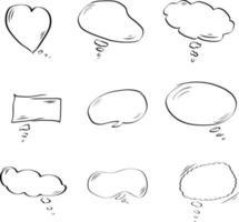 Set of bubble speech vector hand drawn style. balloon text