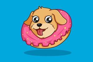 dog with donuts cartoon illustration vector