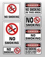 NO SMOKING prohibition forbidden sign set vector illustration