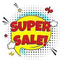 Banner de oferta especial con venta loca de letras cómicas vector