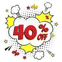 letras cómicas 40 por ciento de descuento en venta vector