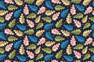 hojas de roble de patrones sin fisuras. versión oscura. vector