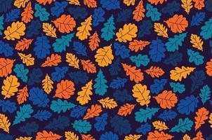 hojas otoñales de roble. patrón sin costuras. defoliación. vector