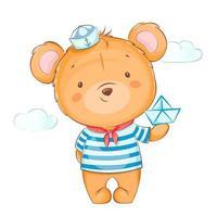 Bear in sailor uniform holding paper boat vector