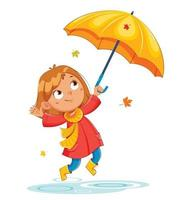 chica en impermeable rad, otoño lluvioso vector