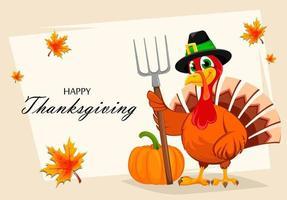 Thanksgiving turkey holding pitchfork vector