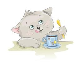 Cute kitten having a cup of tea. Funny kitten vector