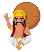 rey mahabali sentado y sosteniendo paraguas vector