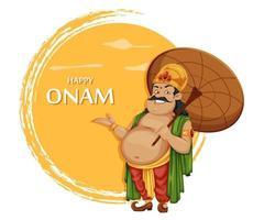feliz festival onam en kerala. rey mahabali vector