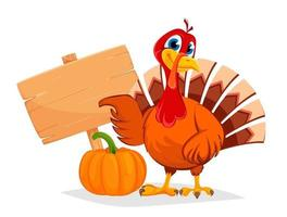 Thanksgiving turkey pointing on wooden blank sign vector