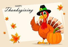 Thanksgiving turkey standing near pumpkin vector