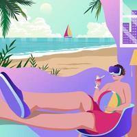 Virtual Reality of Summer Beach vector
