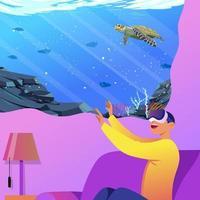 Virtual Reality under The Sea vector