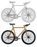 dibujado a mano ilustración de vector de bicicleta amarilla