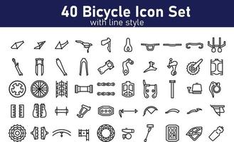 Set of Bicycle Parts with Solid Style Vector Pixel Perfect