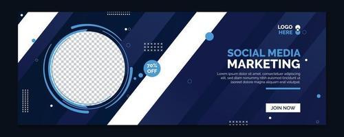 banner web de marketing en redes sociales, banner de portada de marketing digital vector
