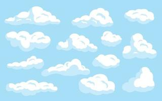 White cartoon clouds set on blue isolated vector