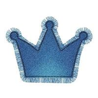 Denim patch in the shape of a crown with fringe. Light blue denim. vector
