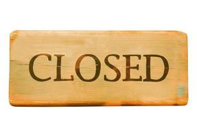 Wooden closed sign photo