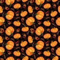 Seamless pumpkin and rowan branch with leaf and berries. vector