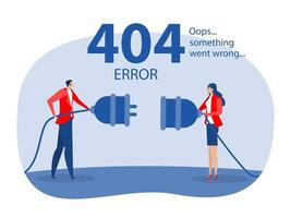 Error 404 landing page people holding unplugged cable, vector