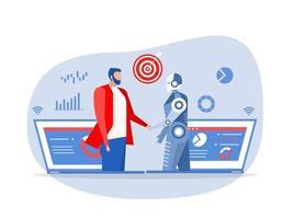 Partnership between businessman and humanoid robot vector