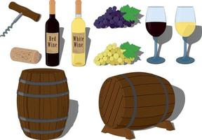 Red and white wine collection vector illustration